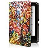 kwmobile Hülle für Tolino Vision 1 / 2 / 3 / 4 HD - Flipcover Case eReader Schutzhülle - Bookstyle Klapphülle Herbstbaum Design Mehrfarbig Orange Rot