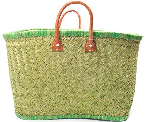 Madagaskar Korbtasche Strandtasche S ★M★L Ibiza Handtasche Damen Lederhenkel (Medium) (Madagaskar Raphia)