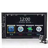 Qiilu 7 Pollici Auto MP5 Player Touch Screen HD Bluetooth GPS Radio FM AUX con Telecomando Telecamera Posteriore Vista (con telecomando)(con camera)
