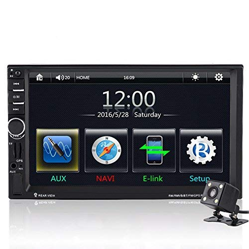 Qiilu 7 Pollici Auto MP5 Player Touch Screen HD Bluetooth GPS Radio FM AUX con Telecomando Telecamera Posteriore Vista (con telecomando)(con camera)