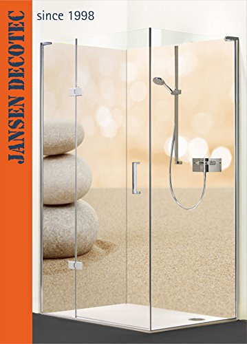 Preisvergleich Produktbild Eck - Duschrückwand, 2 Segmente je 90x200cm, Motiv: ZEN Steine, Sand - KOSTENLOSER Zuschnitt auf Ihr Wunschformat !