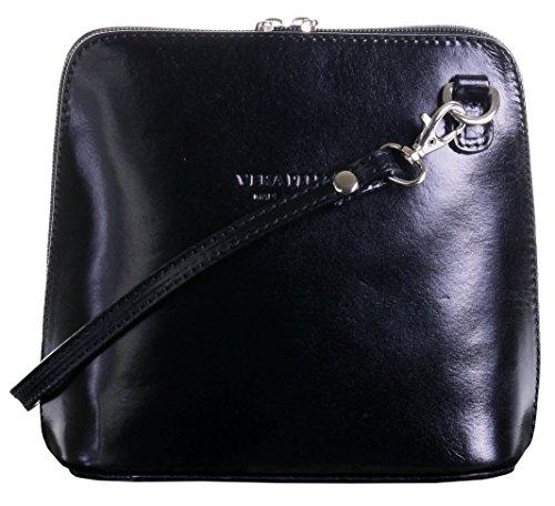In pelle italiana, Small/Micro croce corpo borsa o borsetta borsa a tracolla  Include una custodia protettiva di marca Nero