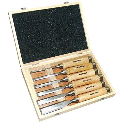 Proteco-Werkzeug 6-tlg. Stechbeitelsatz in Holzkassette Stechbeitel Stemmeisen