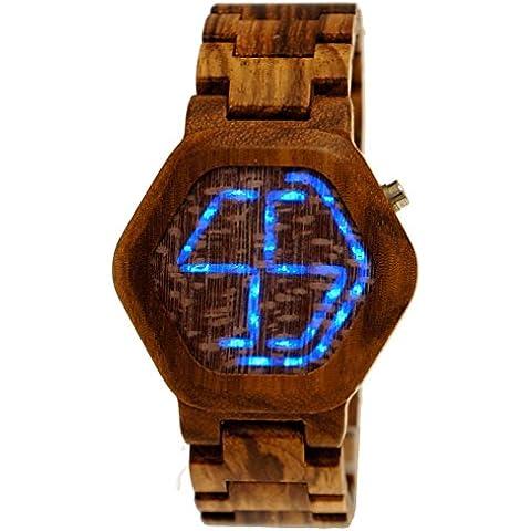 Pure Time® Designer Matrix Hombre Certificado Madera Natural Reloj de pulsera digital LCD Incluye caja para relojes