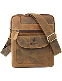 cc83c72cca StarHide Men s Women s Distressed Hunter Real Leather Cross  Body Shoulder Travel Messenger Bag For