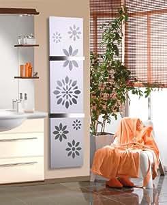 Badheizkörper Design Flower 3, HxB: 180 x 47 cm, 1118 Watt, dunkelgrau (metallic) / weiß + 2 Handtuchhalter (50mm) (Marke: Szagato) Made in Germany / moderner Bad und Wohnraum-Heizkörper (Mittelanschluss)