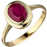 Ring Damenring mit echtem Rubin oval rot 585 Gold Gelbgold Rubinring Goldring, Ringgröße:Innenumfang 54mm ~ Ø17.2mm