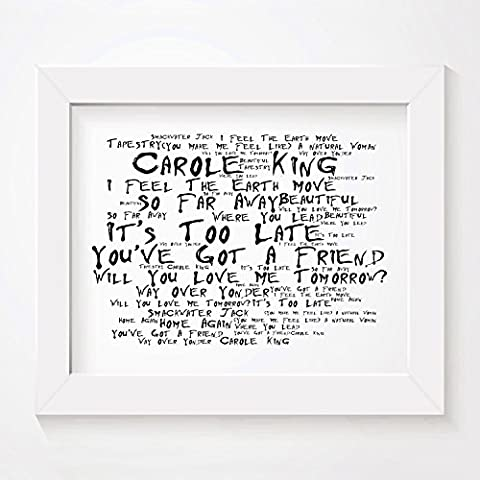 `Noir Paranoiac` Art Print - CAROLE KING - Tapestry - Signed & Numbered Limited Edition Typography Unframed 25 x 20 cm (10 x 8 inch) Album Wall Art Print - Song Lyrics Mini Poster