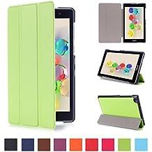 Coque ASUS ZenPad C 7.0 170C - Style de Smart Cover Case Etui à Rabat avec Support Ultra-mince et léger Housse de Protection pour Tablette Asus ZenPad C 7.0 Z170C Z170CG Z170MG 7'' Pouces Coque en Cuir Pochette (Vert)