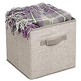 mDesign set di 2 storage box in tessuto – cestino portaoggetti con comodi manici – ideale come organizer armadio o come portagiochi – colore: lino