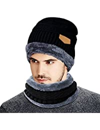 Cappello Uomo invernale --Beileer Cappello Beanie Uomo Invernali in Maglia  con Sciarpa per esterno 9514faae7ddc