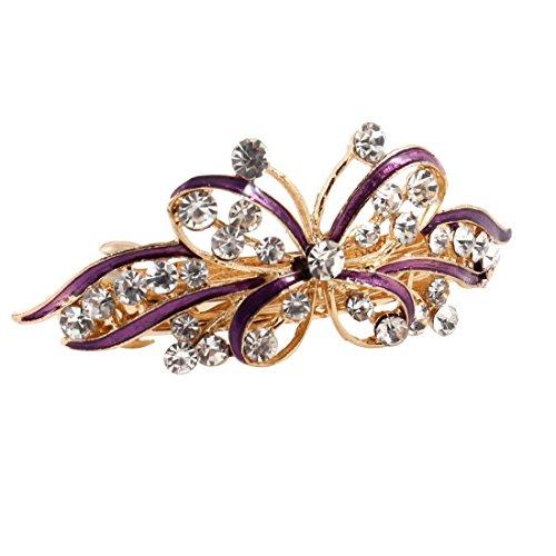 sourcingmap Ton Or Dame Violet Papillon Métal Strass Cheveaux Barrette Clip Plastique