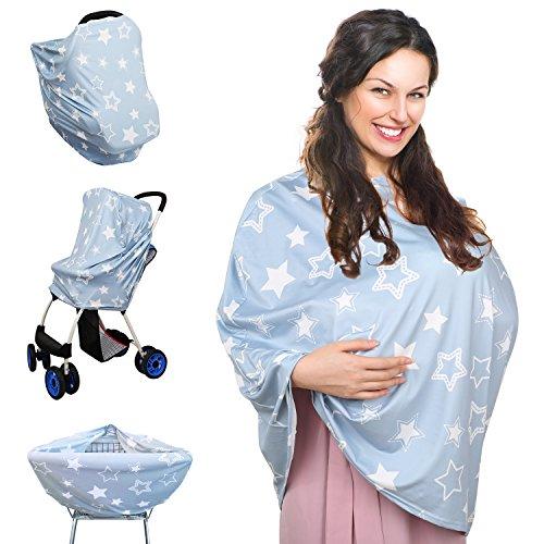 Baby Auto Sitz Abdeckung, Dehnbarer Mehrwegpflegebeutel Krankenpflege Stilvoller Abdeckung Schal für Spaziergänger und Einkaufswagen Baby Förderwagen Hochstuhl Abdeckung (Stern, Grau, Weiß) (Baby-auto-sitze)