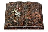 MEMORUM Grabmale Grabbuch, Grabplatte, Grabstein, Grabkissen, Urnengrabstein, Liegegrabstein Modell Livre Pagina 40 x 30 x 8-9 cm Aruba-Granit, Poliert inkl. Gravur (Bronze-Color-Ornament Rose 5)