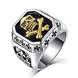 BOBIJOO Jewelry - Bague Chevalière Tête de Mort Argenté Or Croix Templiers Acier Inoxydable Biker - 56 (7 US), Doré Or Fin - Acier Inoxydable 316