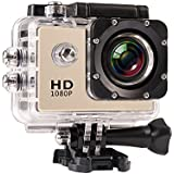 JIUSION Gold, Cam Only: 1080P Full HD Video Action Sport Mini Camera Waterproof Case DV Water Resistant Cam Underwater Diving 5MP Lens Camcorder