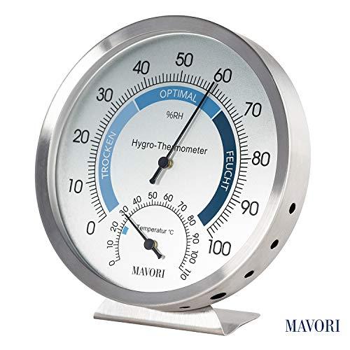 MAVORI® Thermo-Hygrometer analog - Feuchtigkeitsmesser aus hochwertigem Edelstahl für eine zuverlässige und komfortable Raumklima Kontrolle