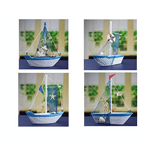 Guve Modello di Barca a Vela Stella Marina in Legno - Set di 4 Pezzi di Decorazione per la casa di Barche a Vela, Rete da Pesca,(L*W*H) 11 * 2.8 * 12.5cm