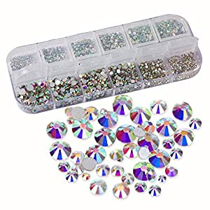 Ccmart 3124PCS nail cristalli AB nail art strass perle in vetro Flatback ciondoli gemme pietre con contenitore, 9taglie SS3456810121620per nail art Crafts trucco del vestiti