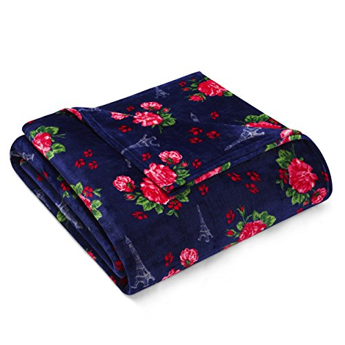 Betsey Johnson French Floral Decke, Polyester, Navy, Twin