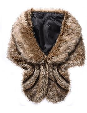 Samber Estolas para Fiestas Mujer de Pelo Sintético Chales de Invierno y Otoño Decoración para Vestidos