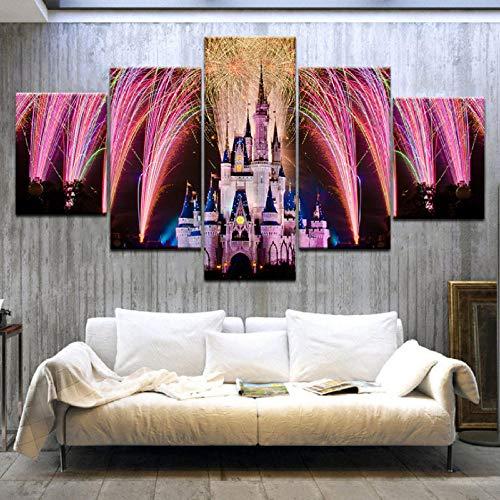 k Hd Print Cinderella Vergnügungspark Moderne Kunst Wand Poster Leinwand Für Zuhause Wohnzimmer Dekoration-40X60/80/100Cm,With Frame ()