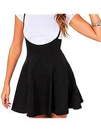 Señoras Mini Falda De A Línea Falda De Tirante Ajustable Faldas Plisadas Negras Casual Trabajo Tiario
