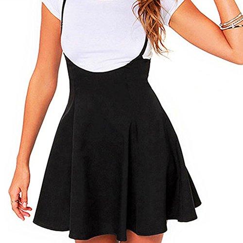 Damen Minirock A-line Plissiert Rock - Frauen Schwarze Kleider Einstellbar Hosenträger Röcke Damenrock Weich Bequem Arbeit Täglich Yying