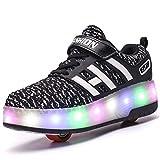 Unisex Schuhe mit Rollen Kinder Skateboard Schuhe Rollschuh Schuhe LED Light Wheels Sneakers Outdoor-Trainer für Junge Mädchen (37 EU, Zwei Räder/Schwarz)