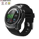 OOLIFENG Smartwatch, Laufen Uhren Mit GPS, Pulsmesser, Kompass, Sport Schrittzähler Für Ios Android,Black