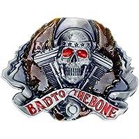 Buckle Biker Bad to the Bone , Skull , Harley V - twin , fibbia della cintura