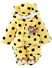 b3d309007d9 Newborn Unisex Baby Winter Jumpsuit Hooded Romper Fleece Onesie All in One  Snow Suit Outfits
