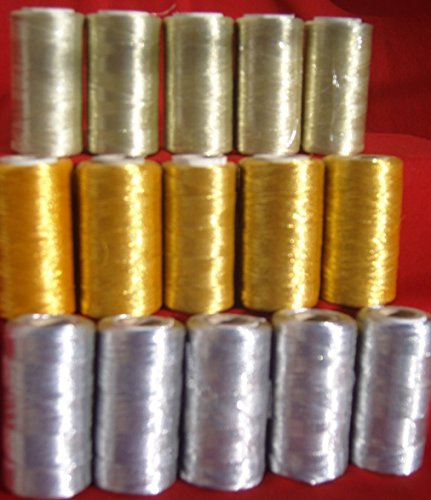 Gold-metallic-thread (15 Metallic Stickerei Maschine Garnspulen, (5 Gold + 5 silber + 5 Light Gold) je 400 Yards, Hohe Qualität)