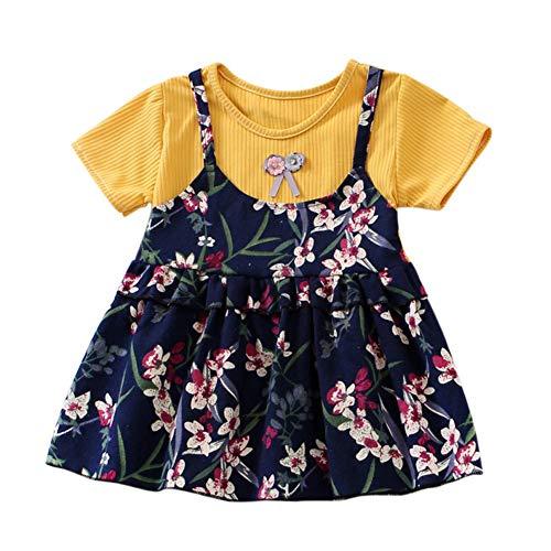 Gyratedream Frühling Baby Mädchen Prinzessin Kleid Gefälschte 2 Stück Kleinkind Blumenmuster Langarm Baumwollkleider