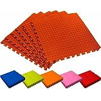 Alfombrilla gimnasio / Esterilla protectora para suelo »PuzzleUp« / Puzzle mat esterilla para deportes, entrenamiento, esterilla para ejercicio / Protección para suelo perfecta consistente de 6 elementos de encaje de 60 x 60 x 1,2 cm (aprox. 2,2 m²) / naranja