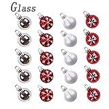 Valery Madelyn 20 Piezas 30mm Bolas de Navidad Cristal Rojas Blancas y Platas Brillante, Mini Adornos Vidrio Esmerilado Patrón de Nieve Ornamento, Adornos Navideños para Árboles y Decoración de Mesa