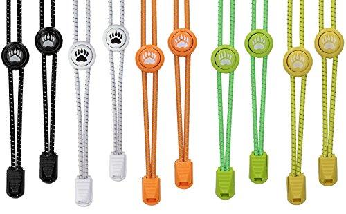 Bearformance Schnürsenkel mit Schnellverschluss Elastische Sportschnürsenkel - Schnellschnürsystem schleifenlos ohne binden (5er Set: Schwarz, Weiß, Orange, Grün, Gelb)