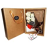 #9: Sky Trends Unique Flower Combo Valentine day gift for Wife | Special Valentine's day gift for Lover | Valentine's day gift for Girlfriend | Valentine day gift for Wife (Flower Combo with Love Card, Carry Bag, and Wooden Heart Keychain)