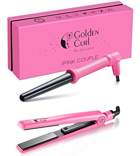 Golden Curl Haar Styling Set – außergewöhnliche 5 Jahres Garantie – Fortgeschrittenes Dual Voltage Mini Salon- Glätteisen & Lockenstab Kit Couple für alle Haartypen