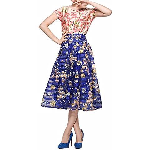 Azul Florales Cintura Alta Impresos Mujeres Midi Plisadas Completos Faldas Largas De Tul