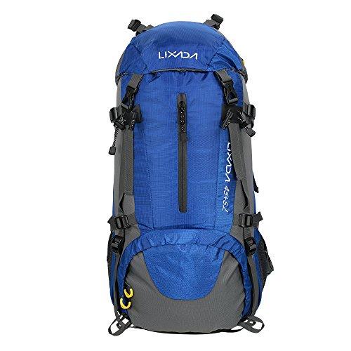 Lixada Mochila de Senderismo 50L con Cubierta Impermeable Mochila de Marcha Trekking Camping Deporte al Aire Libre (Azul)
