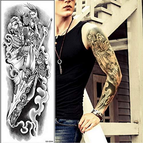 48×17 cm Larrge Blue Alte Schönheit Krieger Rose Uhr Temporäre Volle Arm Bein Fake Tattoo Aufkleber Sachen Tribal Body Tatoo, Packung von 4