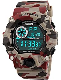 Clocko 1019 Digital Led Black Dial Sports Military Watch 50M Water Resistant Men's Watch_51299