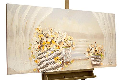 Dipinto in acrilico KunstLoft® 'Il risveglio della primavera' in 120x60cm | Tele originali manufatte XXL | fiori dai petali gialli su sfondo bianco | Quadro da parete dipinto in acrilico arte moderna