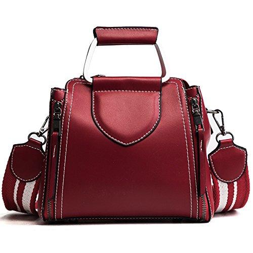 DHFUD Frauen Umhängetasche Eimer Tasche Breite Schultergurt Messenger Bag Fashion Doppel-Reißverschluss,Red-OneSize -