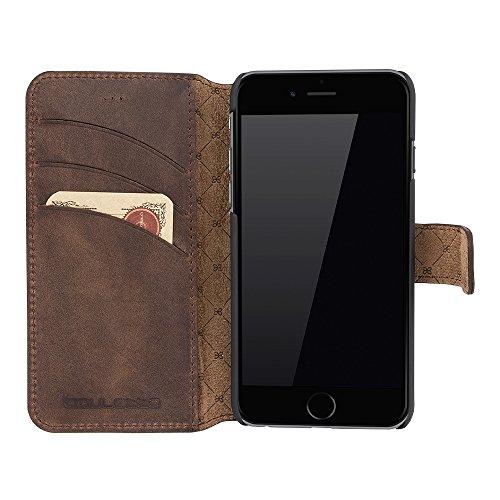 Bouletta Cuir Portefeuille Coque pour Apple iPhone 6/6s–Antic Coffee-parent, Cuir, Cognac (Rustic), Apple iPhone 6 / Apple iPhone 6S Marron café (Antic)