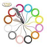 3D Stift Filament PLA 1,75mm, 3D Drucker Filament Set 12Pack, 3D Stift Nachfüllsticks kompatibel mit den meisten 3D-Stift