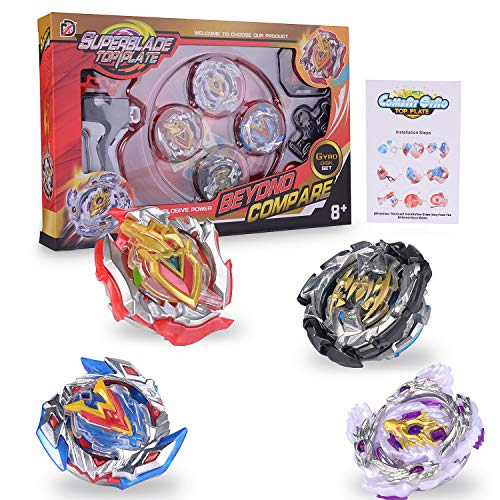 FORMIZON Gyro Burst Peonzas, 4 Pcs Conjuntos de Metal de Gyro Spinning Fusión 4D, Beyblade Conjuntos de Metal de Gyro Spinning Fusión, Regalo para Niños