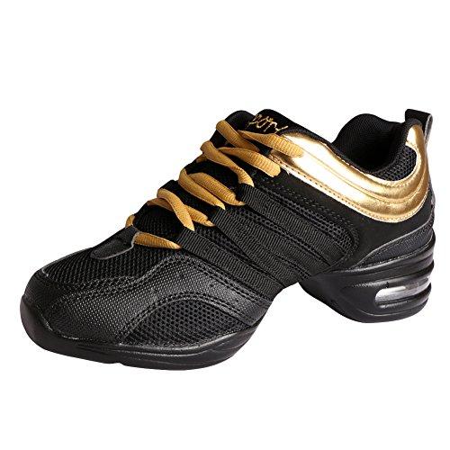 Amurleopard Sneaker Tanzschuhe Damen Schwarz+Gold