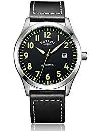 Rotary Men's Automatic Watch with Black Dial Analogue Display and Black Leather Strap GS00659/19
